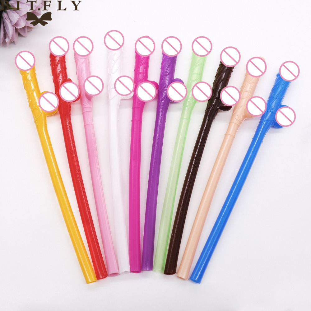 10Pcs Penis Straws Colorful Sexy Willy Drinking Novelty Nude Straw For Bachelorette Party Hen Party Nightclub Adult Theme Party