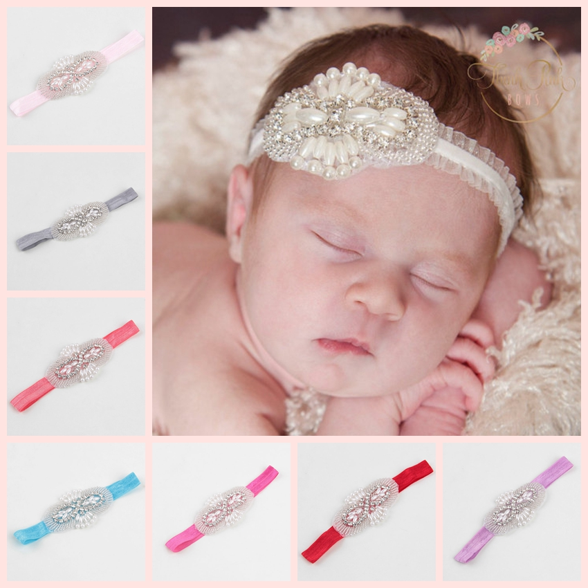 Baby Kids Girls Toddler Newborn Lace Pearl Flower Hairband Crystal Rhinestone Headband Hair Band Party Fashion Accessories