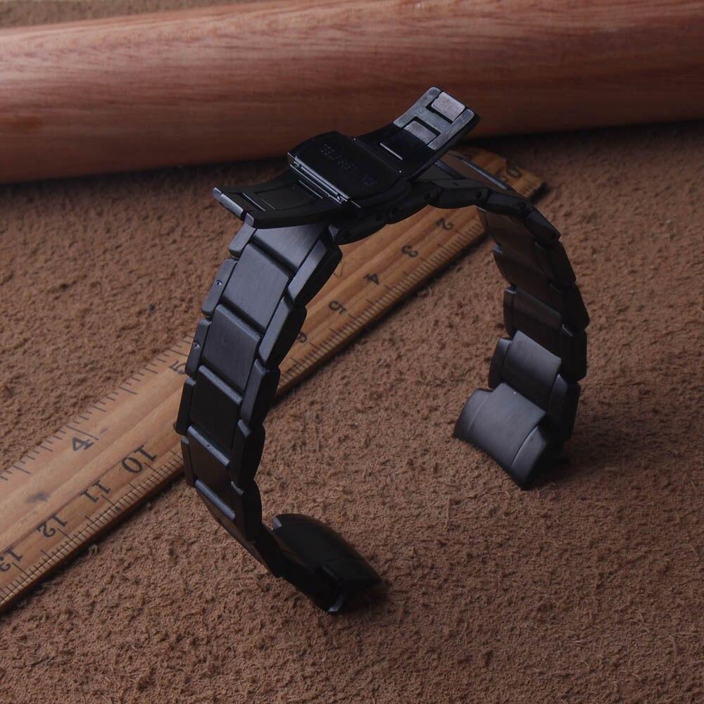 Bracelets de montre bracelet pour Galaxy 42 MM Sport montres bandes noir 20mm courbé extrémités spéciales remplacement papillon boucle fermoir