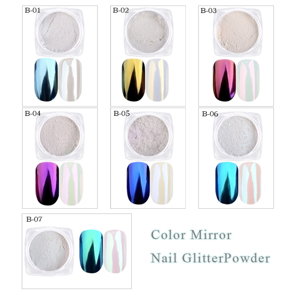 Image 2 - 1g Shinning Aurora Magic Mirror Chrome Nail Art Glitter Powder Colorful Pigment Flakes Dust Decoration Manicure Tips JIB01 07-in Nail Glitter from Beauty & Health