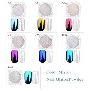 Image 2 - 1g Shinning Aurora Magie Spiegel Chrome Nail art Glitter Pulver Bunte Pigment Flocken Staub Dekoration Maniküre Tipps JIB01 07
