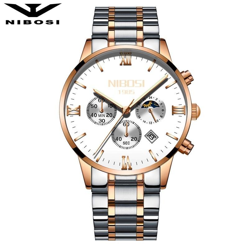 NIBOSI Sun Moon Phase Watch Men Quartz Watches Luxury Famous Top Brand Men's Fashion Casual Military Army waterproof Wristwatch moon flac jeans