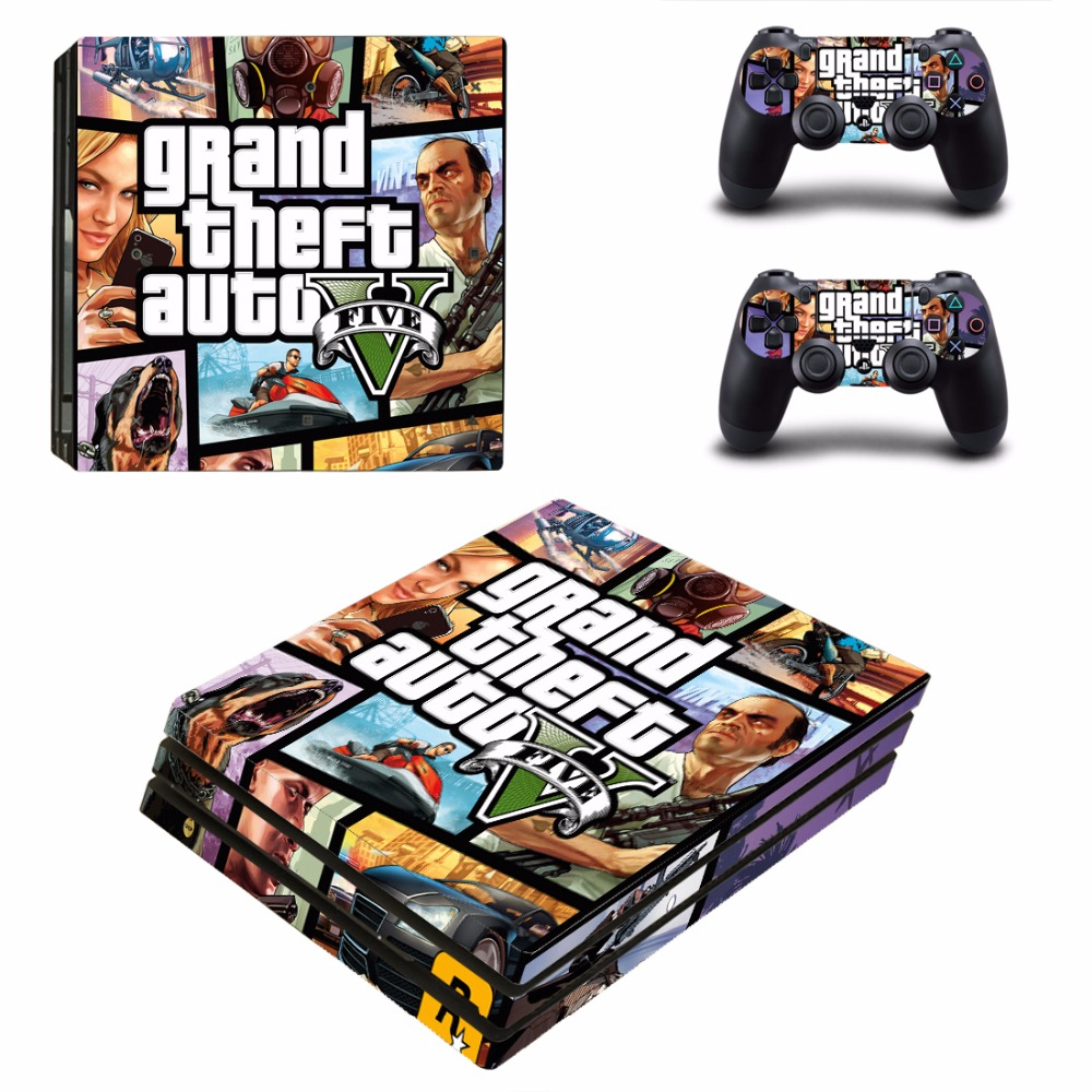 Grand Theft Auto V GTA 5 PS4 Pro Skin Sticker For PlayStation 4 Console and Controllers for Dualshock 4 PS4 Pro Stickers Decal