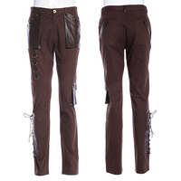Steampunk Men Straight Trousers Fashion Bind Punk Pants Coffee Color Classic Retro Cotton Pants with Packets
