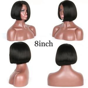 Image 3 - 150% 女性のためのショートボブウィッグブラジルの Remy 毛ストレートレースフロント人毛ウィッグ側部漂白ノットサイズ