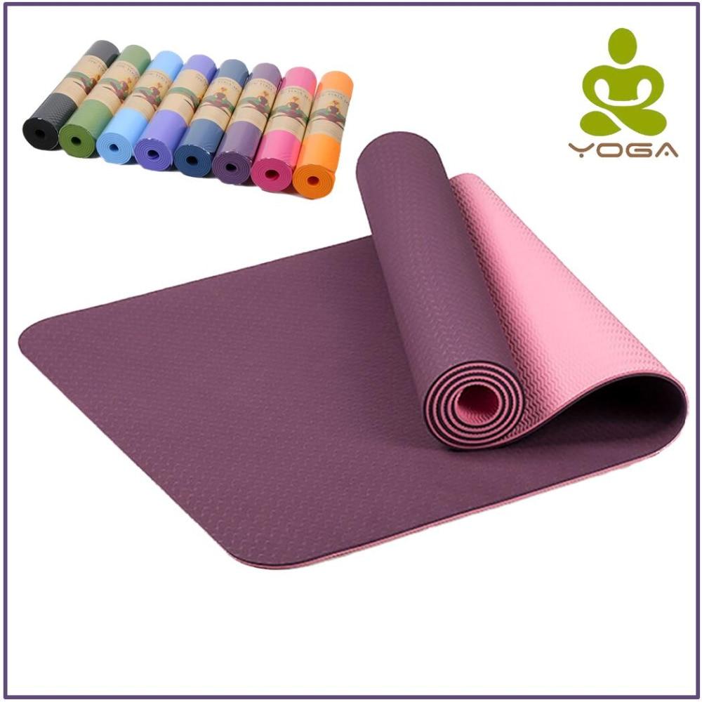 6mm TPE antideslizante Yoga Mats para Fitness insípido marca Pilates Mat 8 Color gimnasio Sport esteras almohadillas con bolsa de Yoga Correa