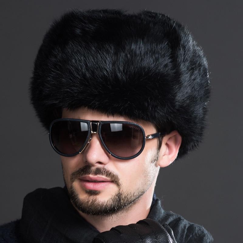 Naiveroo, мужские зимние теплые шапки-бомберы из искусственного меха, черные, коричневые однотонные утолщенные шапки-ушанки, зимние шапки Leifeng, теплые шапки - Цвет: Черный
