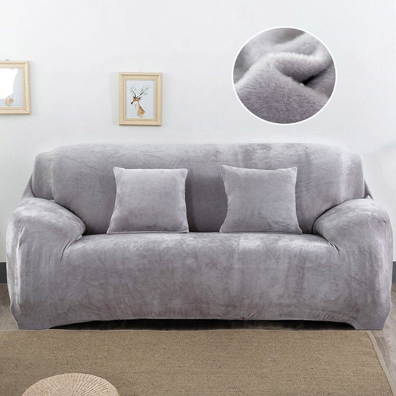Image 2 - Plush Sofa Cover Stretch Solid Color Thick Slipcover Sofa Covers for Living Room Pets Chair Cover Cushion Cover Sofa Towel 1PC-in Sofa Cover from Home & Garden