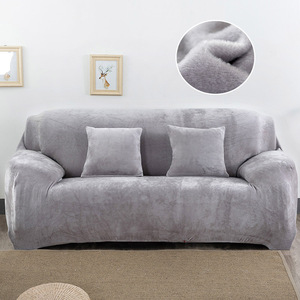 Image 4 - Plush Sofa Cover Stretch Solid Color Thick Slipcover Sofa Covers for Living Room Pets Chair Cover Cushion Cover Sofa Towel 1PC