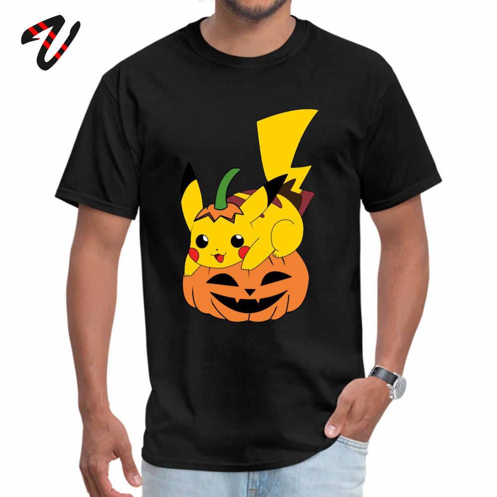 Pikachu ฮาโลวีน Pokemon ฟักทองออกแบบเสื้อฤดูใบไม้ร่วงแขนสั้น Tops & Tees กราฟิกลูกเรือคอ Cotton Boy Mens Tops เสื้อ