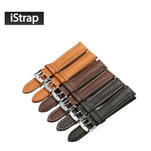 iStrap France calf leather watch strap,18mm to 22mm Genuine leather watch band with Silver Pin buckle For IWC For Omega Seiko