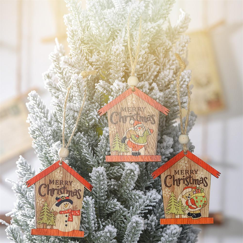 2PCS Christmas Wooden Small House Pendants Ornaments Xmas Tree Ornament DIY Wood Crafts Kids Gift for Home Christmas Party Decor in Pendant Drop Ornaments from Home Garden