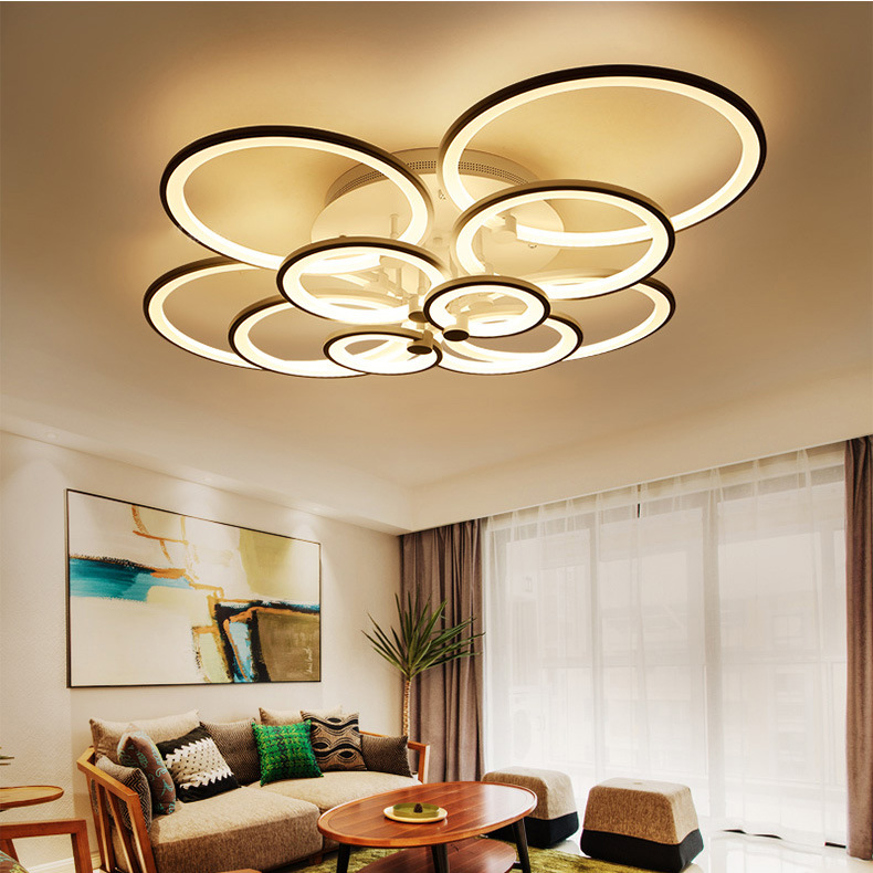 Remote control Modern LED Ceiling Light Acrylic Round Ring Ceiling Wall Mounted Lamp for Living Room Bedroom Home Ceiling Lamp