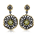 100% Handmade High Grade Combination Colors Jewelry 2017 New Olivine Cubic Zirconia Black/Gold Plate Jewelry Earrings for women