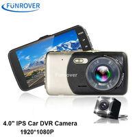FUNROVER 4 0 IPS Car DVR Camera Dual Lens Dash Cam FHD 1080P With Rear View