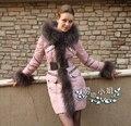Роскошные Роялкэт 2016 Зимняя Куртка Женщины Пуховики Енота меховым Капюшоном тонкий средней длины вниз пальто сгущает женщин розовый Верхняя Одежда