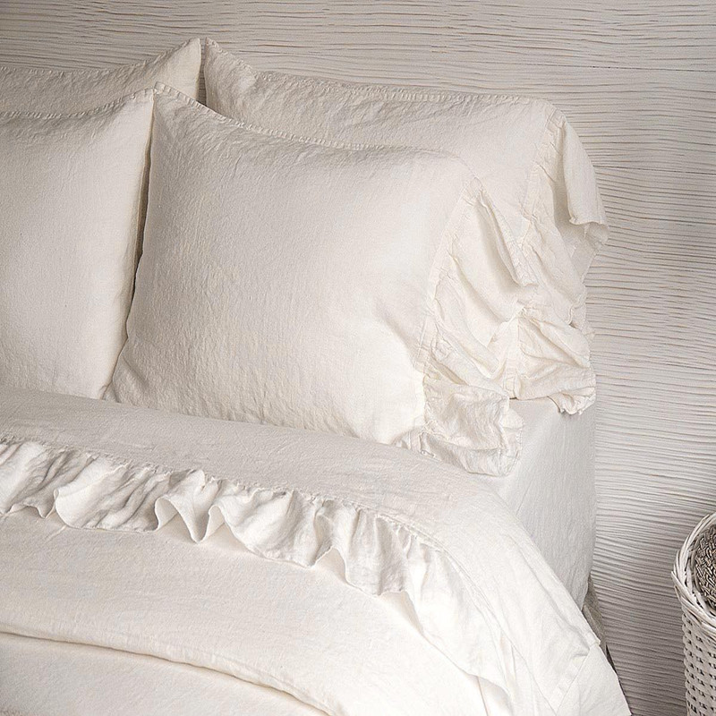 100% Hemp Antibacterial King Queen Size White Color Fishtail Ruffles Flat Sheet Duvet Covet Cover 4 Pcs Set Customize