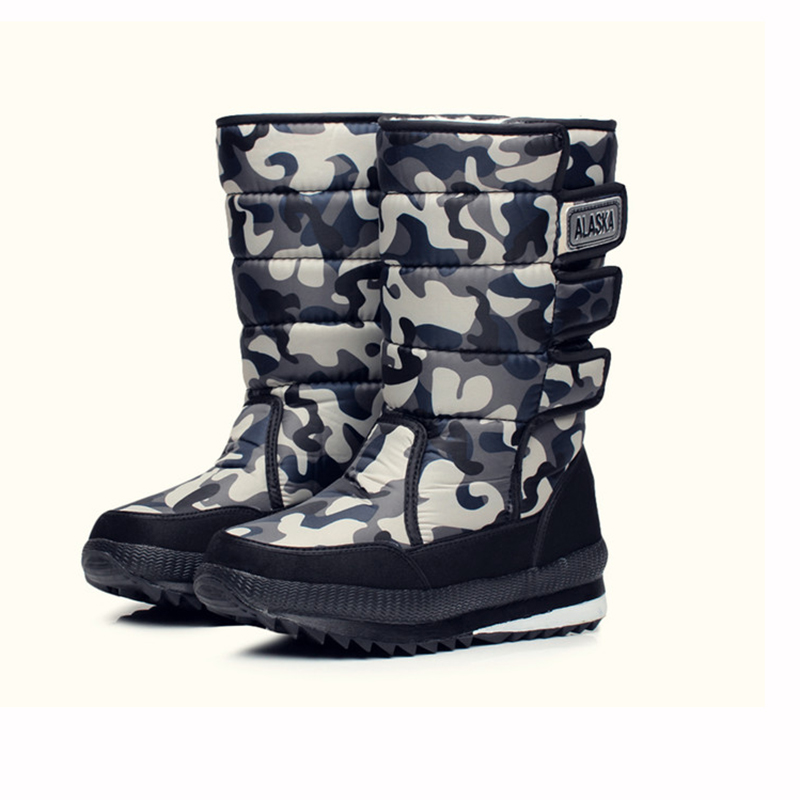 2019 New Men's Non-slip Waterproof Ski Boots Winter Shoes Outdoor Warm Long Tube Camouflage Large Size Men's Snow Boots