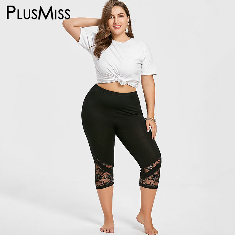PlusMiss Plus Size 5XL 4XL High Waist Sexy Lace Capri   Leggings   Women Big Size Skinny Fitness Cropped Legins Female Jeggings 2018