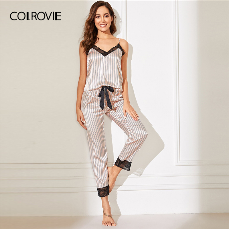 COLROVIE Pink Lace Trim Satin Cami Top And Striped Pants Women Pajama Set 2019 Spring Sleeveless Sleepwear Sexy Nightgowns