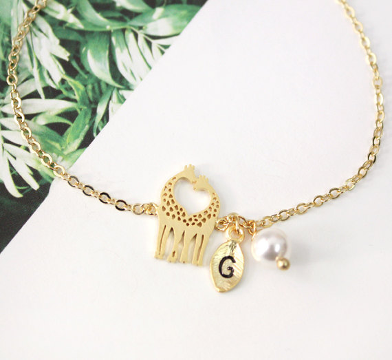 Personalized Initial Giraffe Bracelet Heart Shaped Kissing Love Jewelry For S