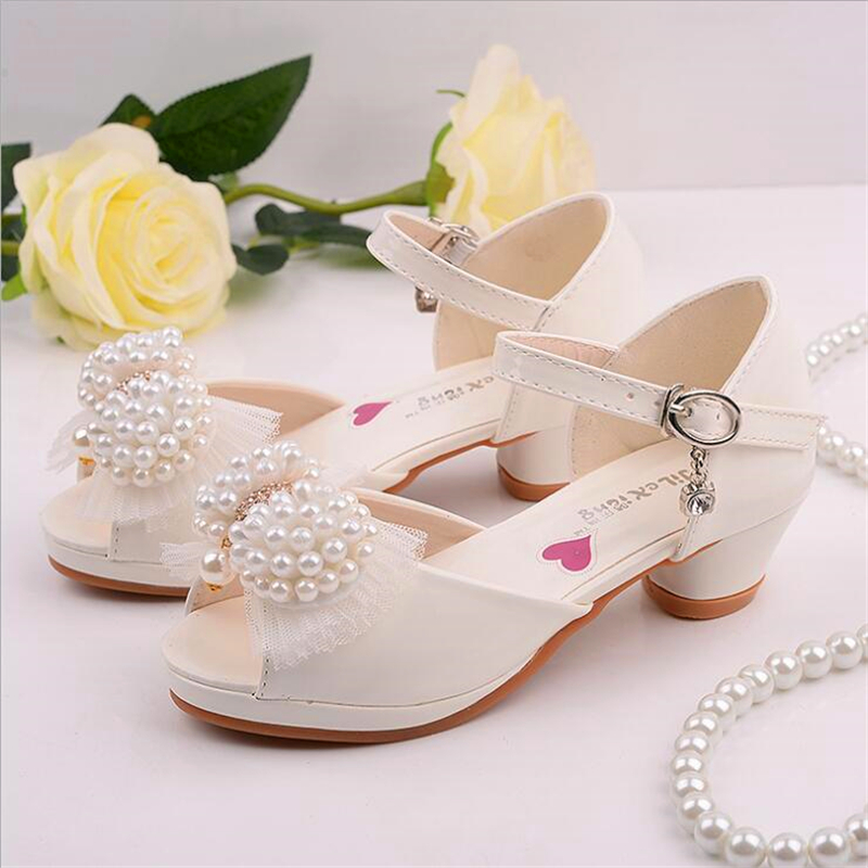 Children's Shoes 2017 New Korean Upscale Girls Sandals Princess White Pearl Dance Shoes High-heeled European Size26-37 Hot Sales