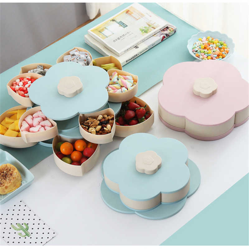 MICCK Petal-Shape Rotating Snack Box Candy Tray Food Storage Box Wedding Candy Plates Double-deck Dried Fruit Organizer Storage
