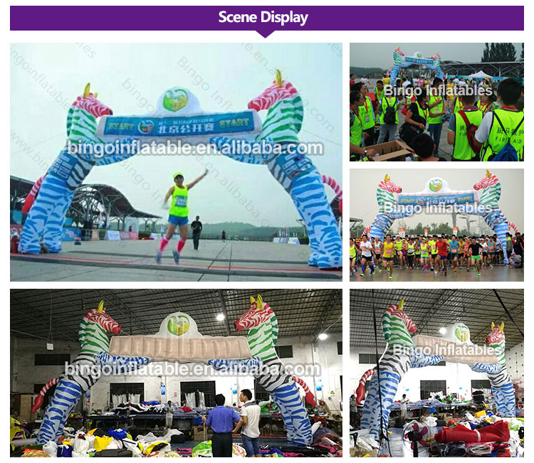 1960a6bab Free shipping 8X6m inflatable race arch start finish line with zebra ...