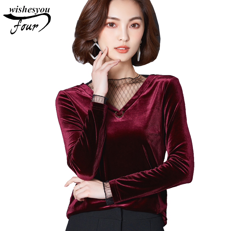 2017 new autumn long sleeves solid yarn splicing gold velvet women blouse shirt blusas top large size velour women shirt 88F 30