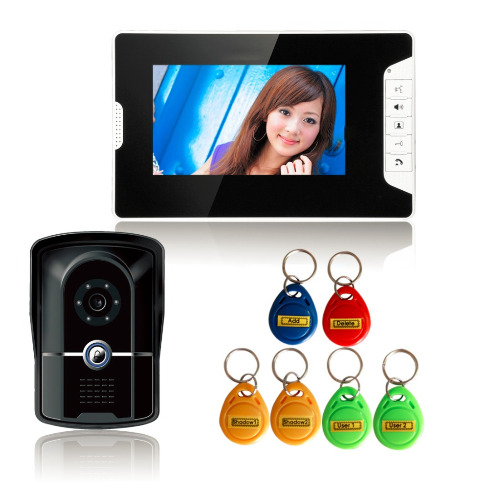7 inch Color Video Door Phone Intercom Doorbell System + 1 Monitor + RFID Access Waterproof Camera for Apartment Security door intercom video cam doorbell door bell with 4 inch tft color monitor 1200tvl camera