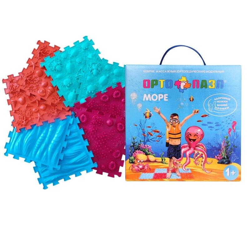 Детский массажный коврик ОРТО ПАЗЛ, набор Море, микс развивающий коврик орто пазл микс море