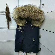 Dark Blue Snake Beading Vest Natural Fur Vest Jacket Big Raccoon Fur Hood Vest