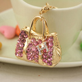 Fashion Crystal handbag alloy keychain ring Holder for Women Girl Jewelry Purse Charm Pendant  PWK0099