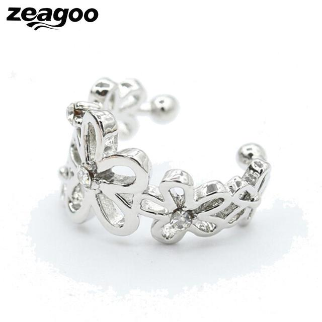 Zeagoo Fl Shape 3 Colors Fashion Ear Clip For Women Sweet Holeless Fake Diamond