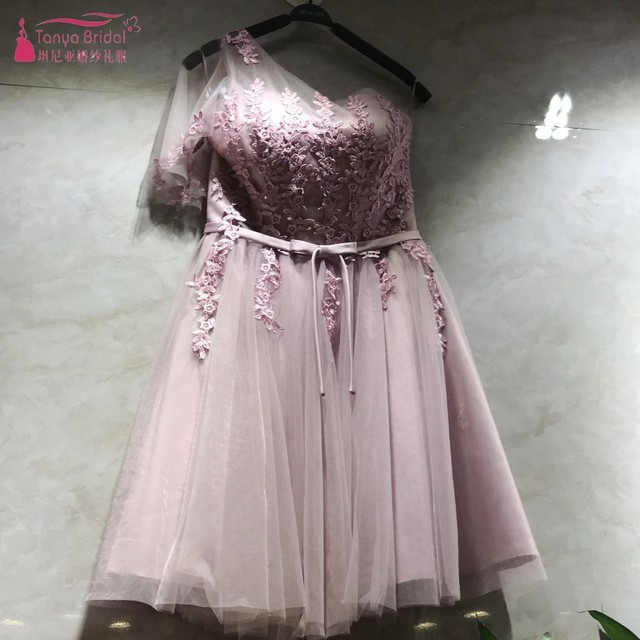 3 Styles Bridesmaid Dresses 2018 Pink robe de mariee Short Wedding Guest Dress Cheap In Stock Real Photo DQG 316