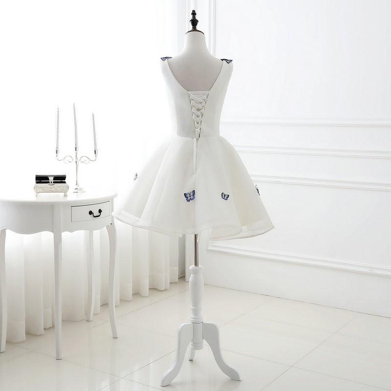 Lamya 2017 White Embroidery Butterfly V Neck Short ALine Prom Dresses Cheap Elegant Prom Dress Vestido De Festa In Stock EV2978 (4)