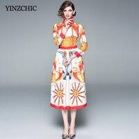 Vintage Womans Spring New Print Dress Turn down Collar Female Elegant Mid Dresses OL Casual Street Dresses Women 2019 Dresses