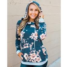 Flower Printed Women Hoody Sweatshirt Slim Pullover Hoodies Long Sleeve Street Style S-XL