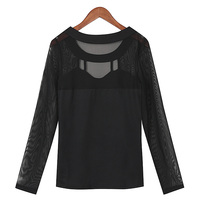 ZANZEA 2016 Autumn Black Tops Women Blouses Long Sleeve O Neck Solid Sexy Hollow Out Patchwork