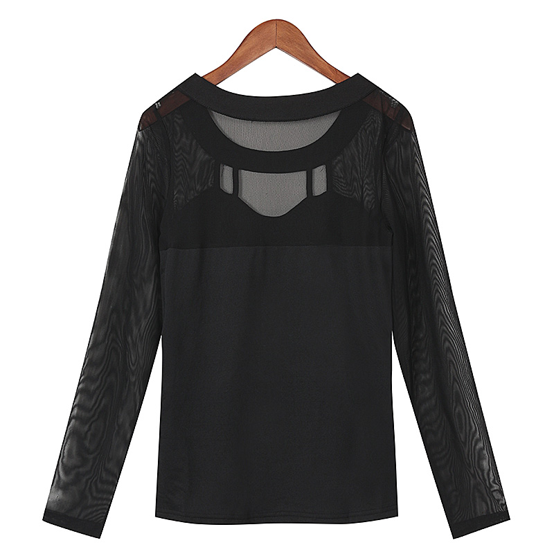 ZANZEA 2017 Autumn Black Tops Women Blouses Long Sleeve O Neck Solid  Hollow Out Patchwork Mesh Shirts Blusas Plus Size
