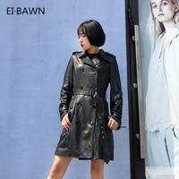 Women Genuine Leather Windbreaker Long Double breasted Classic Design Fashion Lapel Belt Real Sheepskin Soft Ladies Long Coats