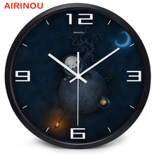 Airinou silver/white/black Laboratory Of Institute Of Academy Of Sciences Study Room Glass clock, Space Series Watch