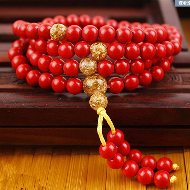 Natural Cinnabar Bracelet Red 108 Round Beads Hand String Female Models Men Jewelry Jades