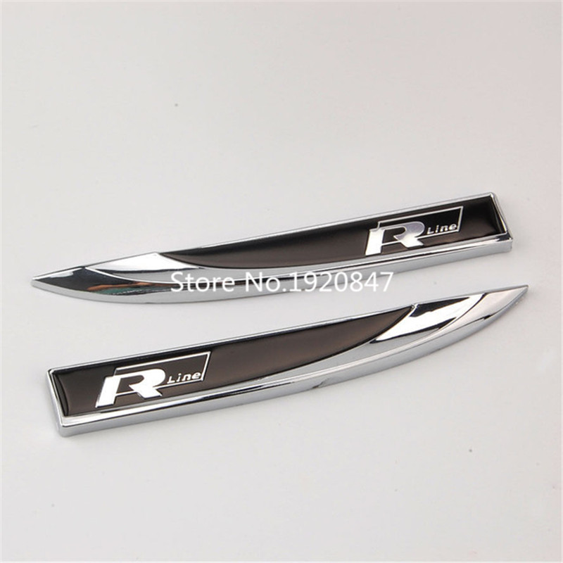 2pcs chrome rline r line emblem badge fender sticker for. Black Bedroom Furniture Sets. Home Design Ideas