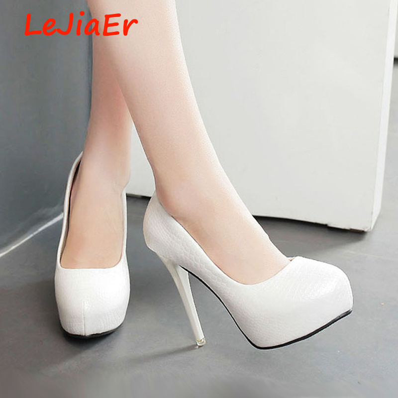 women shoes platform heels wedding white pumps party for sexy high black D740