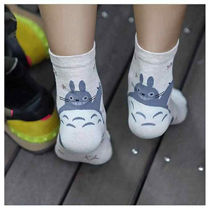 Epous 2019 جديد Kawaii لطيف الحيوان طباعة المتناثرة إمرأة لطيف جوارب بأشكال مضحكة عارضة القطن طاقم جورب بصور حيوانات جميع الموسم Totoro سوكس