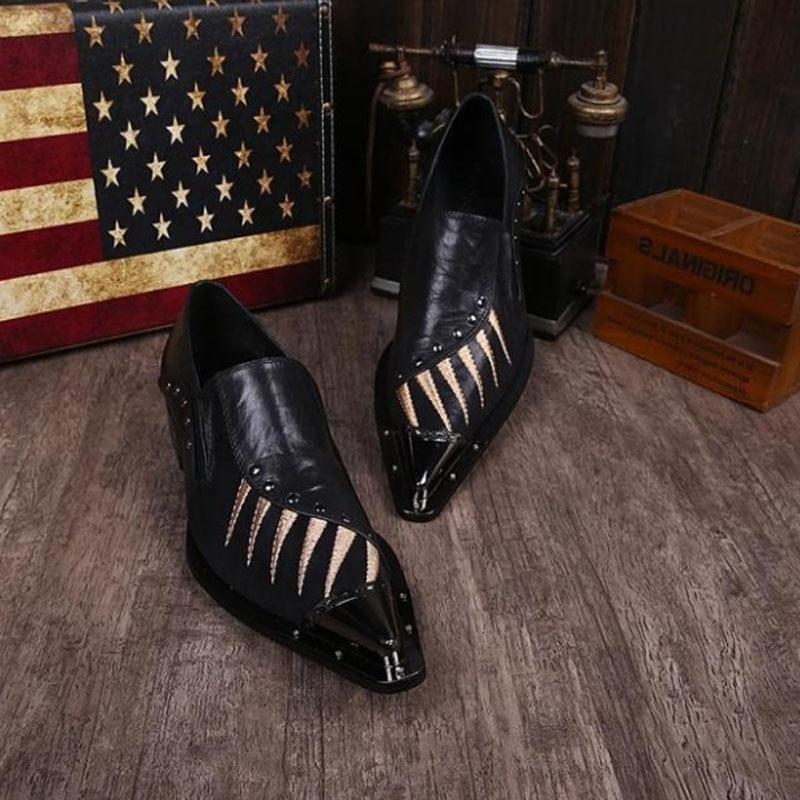 Chaussures pour hommes italiens marques bout pointu en acier chaussures pour hommes chaussures formelles en cuir véritable mocassins zapatos hombre vestir chaussures de bureau