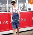 Синий джинсы комбинезоны шорты мужчины лето мужчины в разрез комбинезон корейский мужчины проблемные рваные шорты