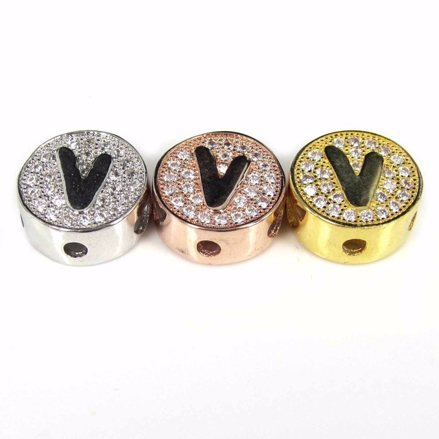 Gold Plated Round Beads Micro Pave Cz Metal V Letter Er For