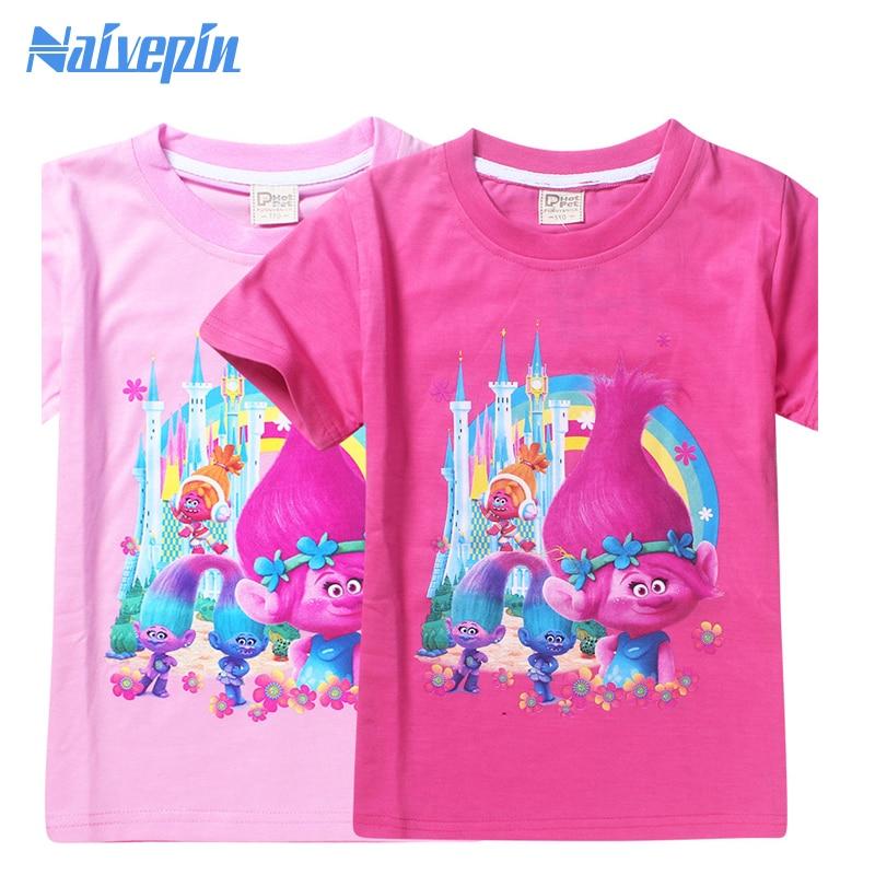 Roupas Infantis Menina Poppy Magic Cartoon T shirts for Kids Children Girls Clothes Clothing Summer T-shirts Tshirts Tees